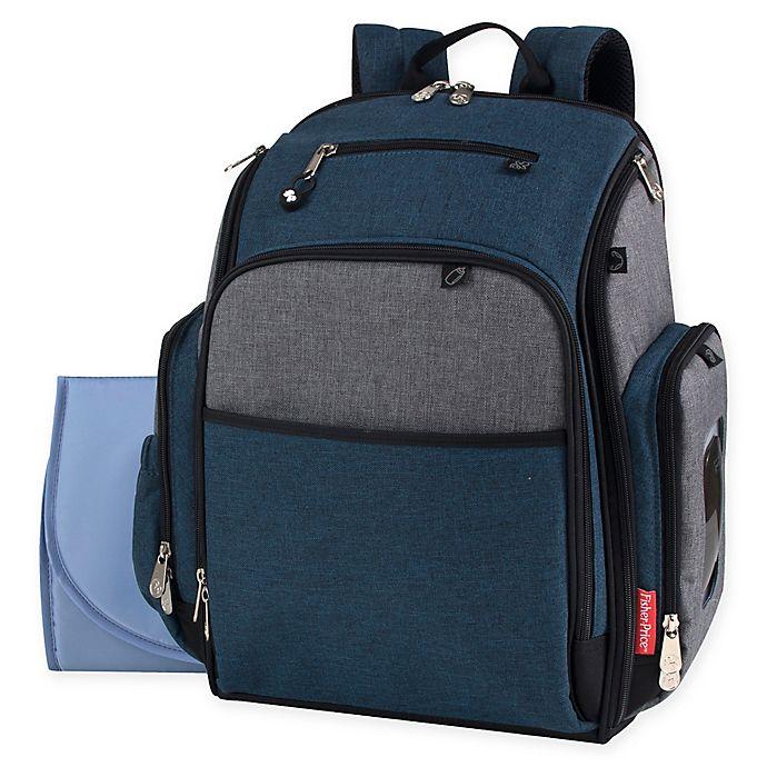 Alternate image 1 for Fisher Price® Kaden Super Cooler Backpack Diaper Bag in Blue/Grey