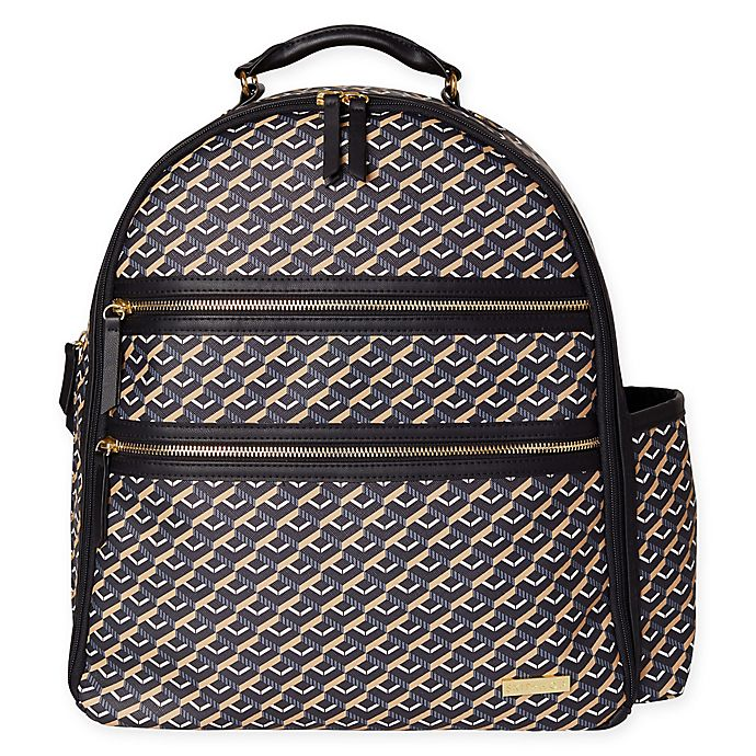 Alternate image 1 for SKIP*HOP® Deco Saffiano Diaper Backpack in Black