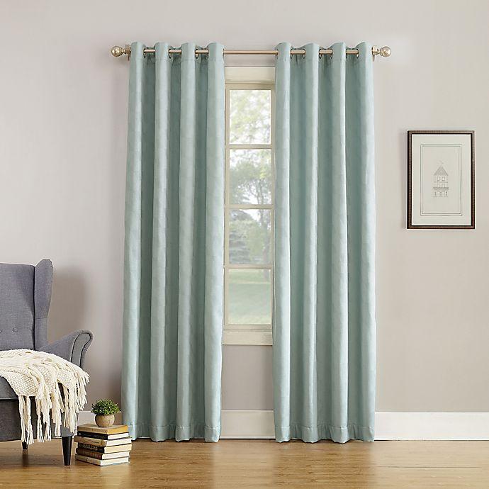Alternate image 1 for Simon Fleece-Lined 108-Inch Grommet Room Darkening Window Curtain Panel in Aqua