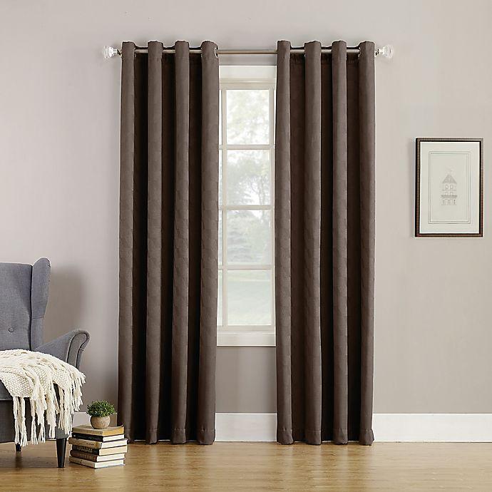 Alternate image 1 for Simon Fleece-Lined 95-Inch Grommet Room Darkening Window Curtain Panel in Carob