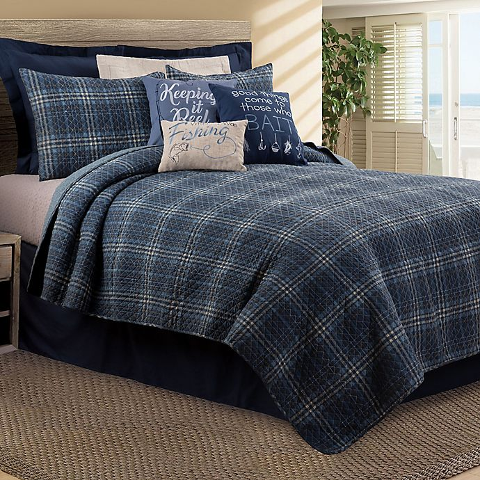 Alternate image 1 for Anthony King Reversible Quilt Set in Navy