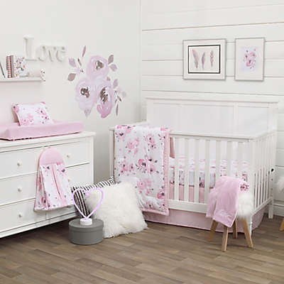 Nojo Dreamer Watercolor Floral 8 Piece Crib Bedding Set In Rose Pink
