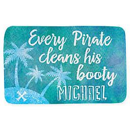 """""""Pirate Booty"""" 20"""" x 32"""" Bath Mat in Blue"""