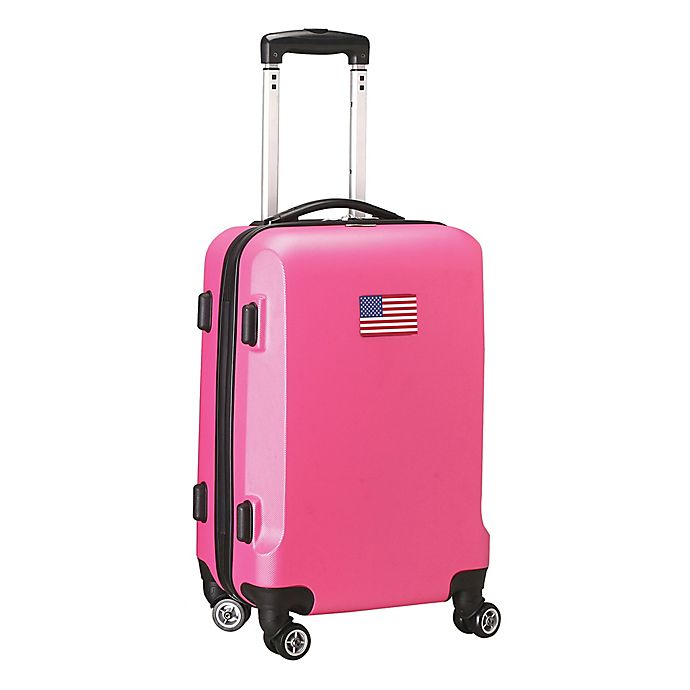 Alternate image 1 for Denco Mojo USA Flag 21-Inch Hardside Spinner Carry-On Luggage in Pink