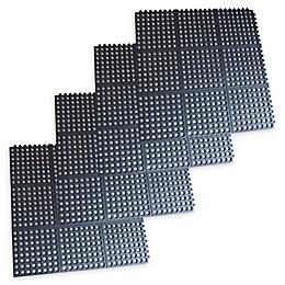 Buffalo 36-Inch x 36-Inch Interlocking Non-Slip Rubber Floor Mats in Black (Set of 4)