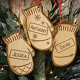 Family Winter Mitten Wood Ornament