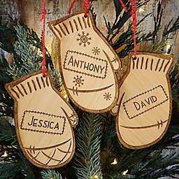 Family Winter Mitten Wood Ornament