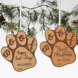 Happy Howlidays Wood Dog Ornament