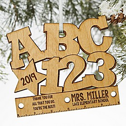 ABC & 123 Wood Teacher Ornament