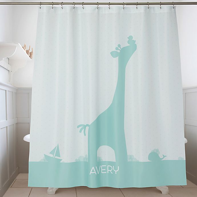 Alternate image 1 for Baby Zoo Animals Personalized Shower Curtain