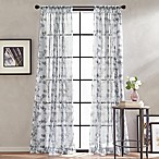 Peri Home Kelly Floral Sheer 63-Inch Rod Pocket Window Curtain Panel in Grey