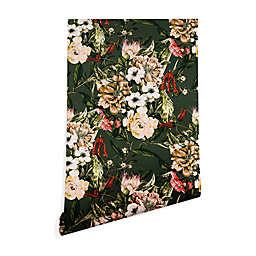 Deny Designs Marta Barragan Camarasa Wild Floral 2-Foot x 4-Foot Peel and Stick Wallpaper in Green