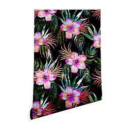 Deny Designs Schatzi Brown Honolua Tropical Peel and Stick Wallpaper in Black