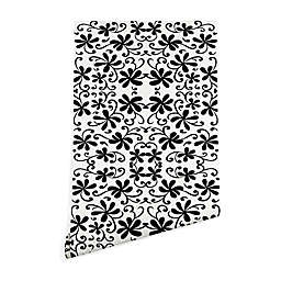 Deny Designs Rosie Brown Black on White Wallpaper in Black