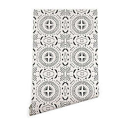 Deny Designs Holli Zollinger Mandala Tile Light 2-Foot x 4-Foot Peel & Stick Wallpaper in Black