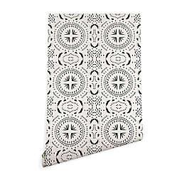 Deny Designs Holli Zollinger Mandala Tile Light 2-Foot x 8-Foot Peel & Stick Wallpaper in Black