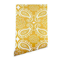 Deny Designs Heather Dutton Plush Paisley 2-Foot x 8-Foot Peel & Stick Wallpaper in Goldenrod