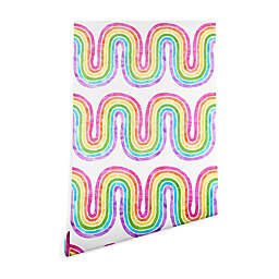Deny Designs Schatzi Brown Rainbow Wave Peel and Stick Wallpaper
