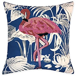Destination Summer Beaded Flamingo Square Indoor/Outdoor Square Throw Pillow in Blue