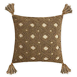 Destination Summer Neutral Jacquard Square Indoor/Outdoor Throw Pillow