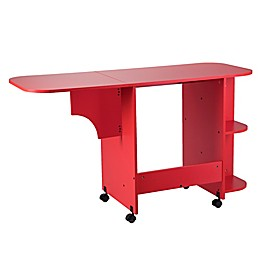 Southern Enterprises Expandable Sewing Table on Wheels in Red