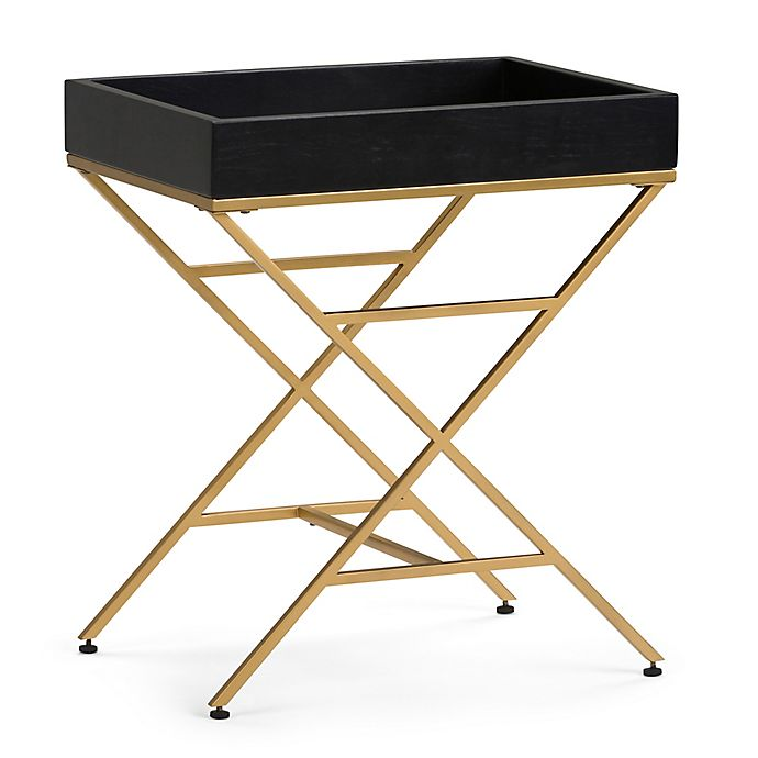 Alternate image 1 for Simpli Home Moira Wood & Metal Accent Table in Black/Gold