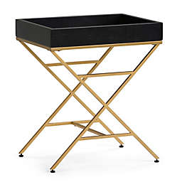Simpli Home Moira Wood & Metal Accent Table in Black/Gold