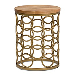 Simpli Home Sadie Wood and Metal Accent Table in Natural/Gold