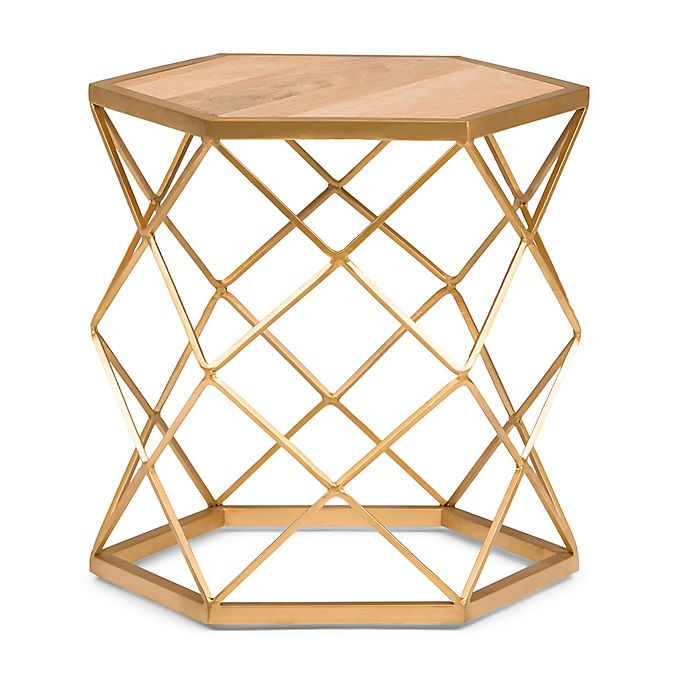 Alternate image 1 for Simpli Home Kristy Wood and Metal Accent Table in Natural/Gold