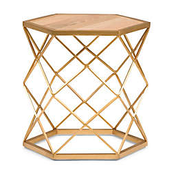 Simpli Home Kristy Wood and Metal Accent Table in Natural/Gold