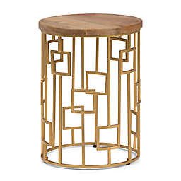 Simpli Home Rhys Wood & Metal Accent Table in Natural/Gold