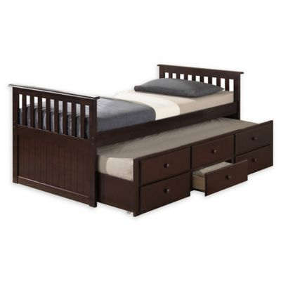 Twin Bed Frame With Trundle And Storage, La Salle Twin Captain S Bed With Trundle And Storage Drawers White