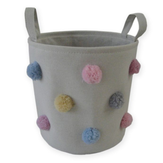 Alternate image 1 for Bee & Coco Round Storage Bin in Ivory with Multicolor Pom Poms