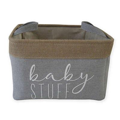 """Bee & Coco """"Baby Stuff"""" Storage Bin in Grey Linen and Burlap"""