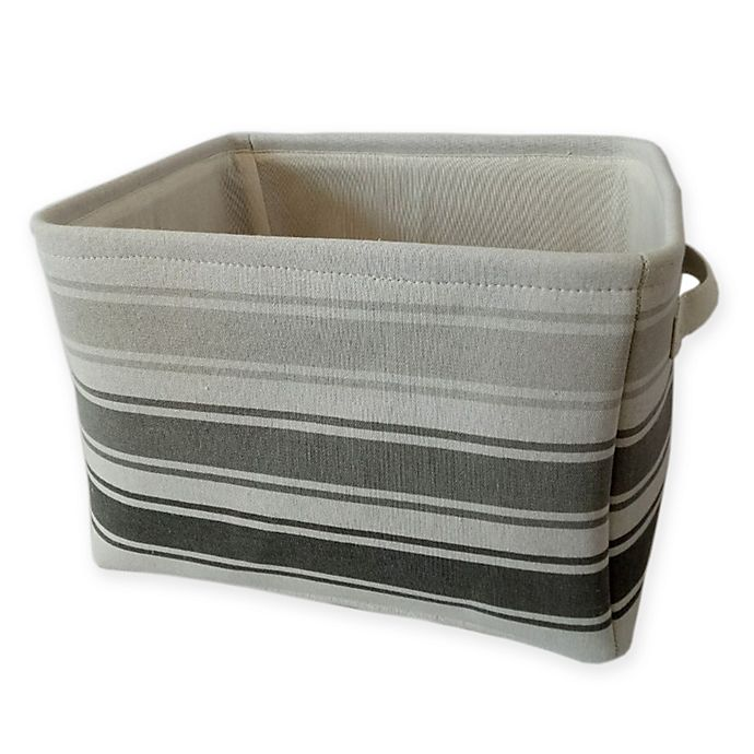 Alternate image 1 for Bee & Coco Storage Bin in Grey Stripe