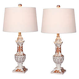 Fangio Lighting Distressed Urn Table Lamps (Set of 2)