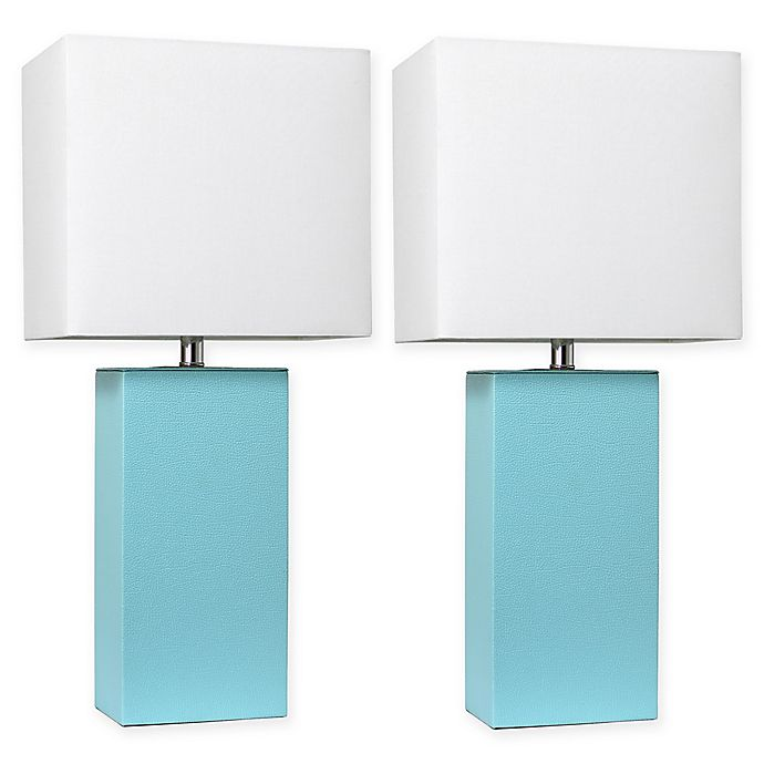 Alternate image 1 for Elegant Designs Modern Leather Table Lamps with Fabric Shades (Set of 2)
