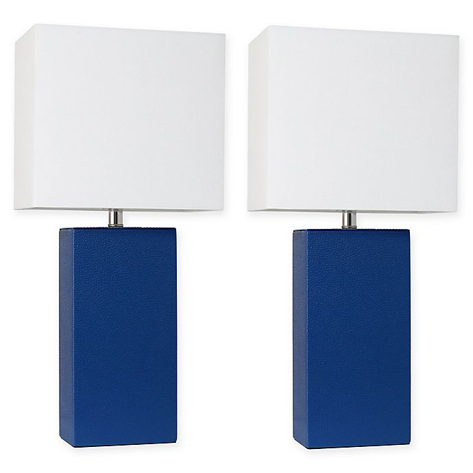 Alternate image 1 for Elegant Designs Modern Leather Table Lamps in Blue with Fabric Shades (Set of 2)
