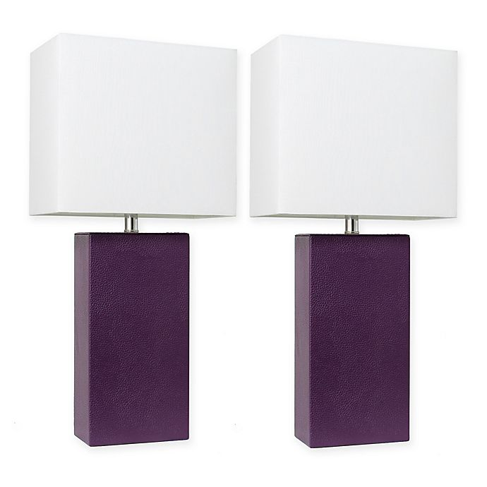 Alternate image 1 for Elegant Designs Modern Leather Table Lamps in Eggplant with Fabric Shades (Set of 2)