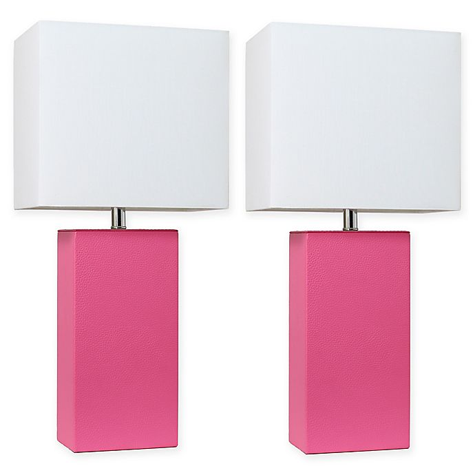 Alternate image 1 for Elegant Designs Modern Leather Table Lamps in Hot Pink with Fabric Shades (Set of 2)