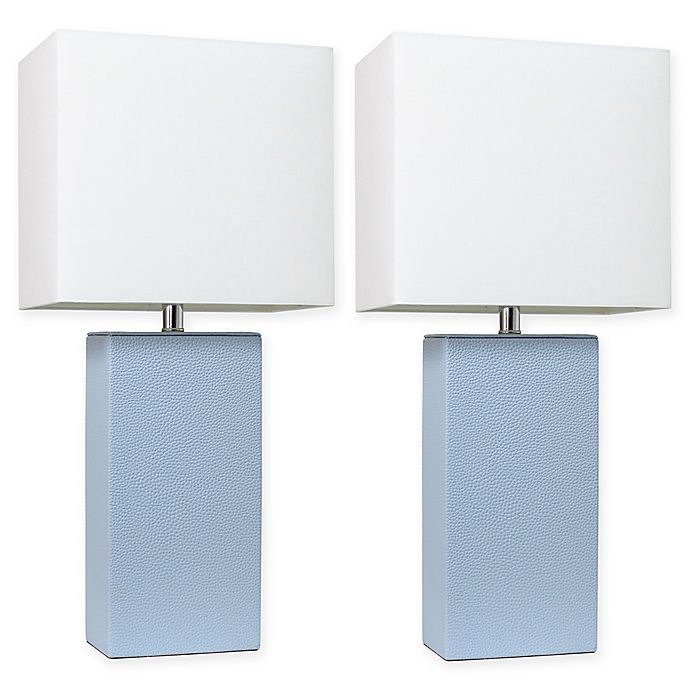 Alternate image 1 for Elegant Designs Modern Leather Table Lamps in Periwinkle with Fabric Shades (Set of 2)