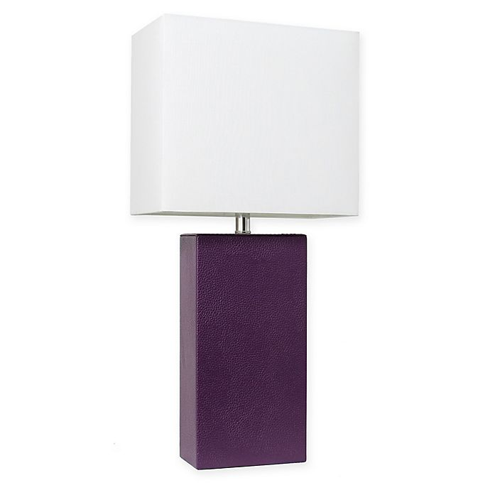 Alternate image 1 for Elegant Designs Modern Leather Table Lamp in Eggplant with Fabric Shade