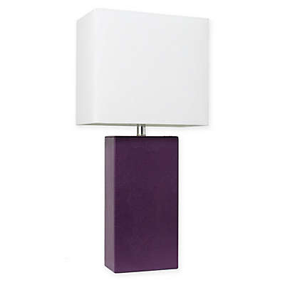 Elegant Designs Modern Leather Table Lamp with Fabric Shade