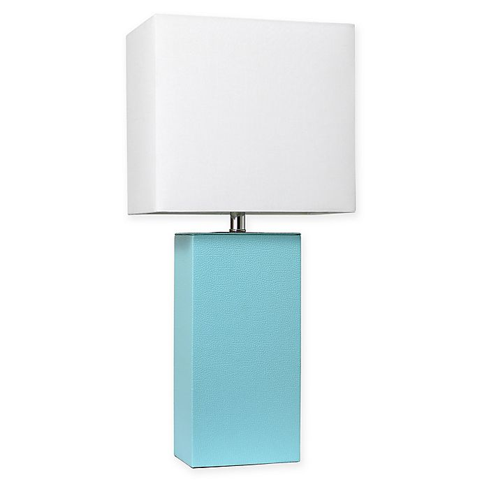 Alternate image 1 for Elegant Designs Modern Leather Table Lamp in Aqua with Fabric Shade
