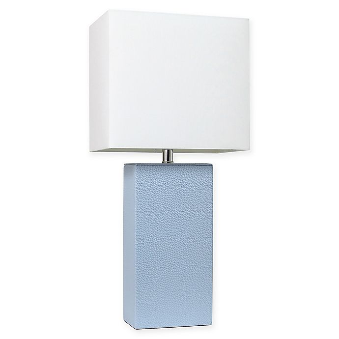 Alternate image 1 for Elegant Designs Modern Leather Table Lamp in Periwinkle with Fabric Shade