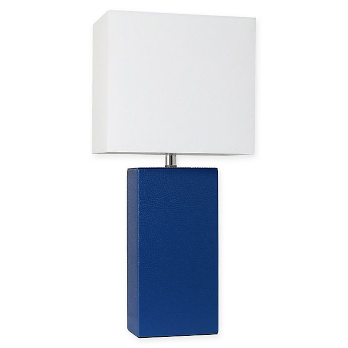 Alternate image 1 for Elegant Designs Modern Leather Table Lamp in Blue with Fabric Shade