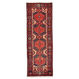 Feizy Rugs One of a Kind Antique Hamedan 3'5 x 9'10 Runner in Red/Navy