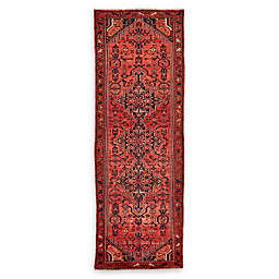 Feizy Rugs One of a Kind Antique Hamedan 3'7 x 10'4 Runner in Red/Navy/Beige