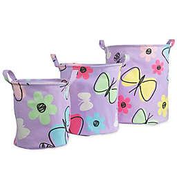 Dream Factory Sweet Butterfly 3-Pack Storage Bin in Purple