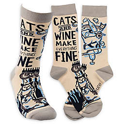 """Primitives by Kathy® """"Cats and Wine"""" One-Size Adult Socks"""